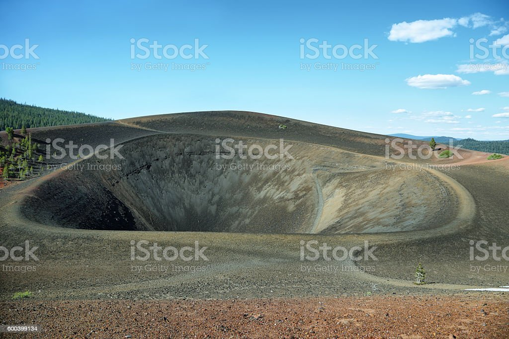 Crater of Cinder Cone, Lassen Volcanic National Park stock photo