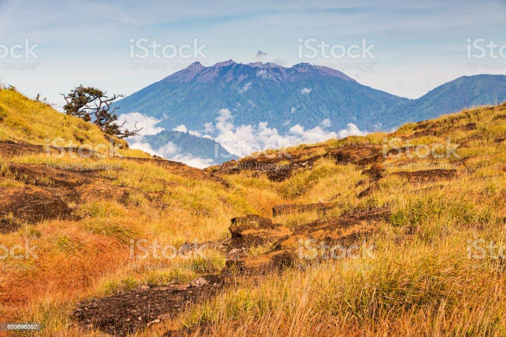 Crater of Gunung Raung viewed from Gunung Merapi in Java Indonesia stock photo