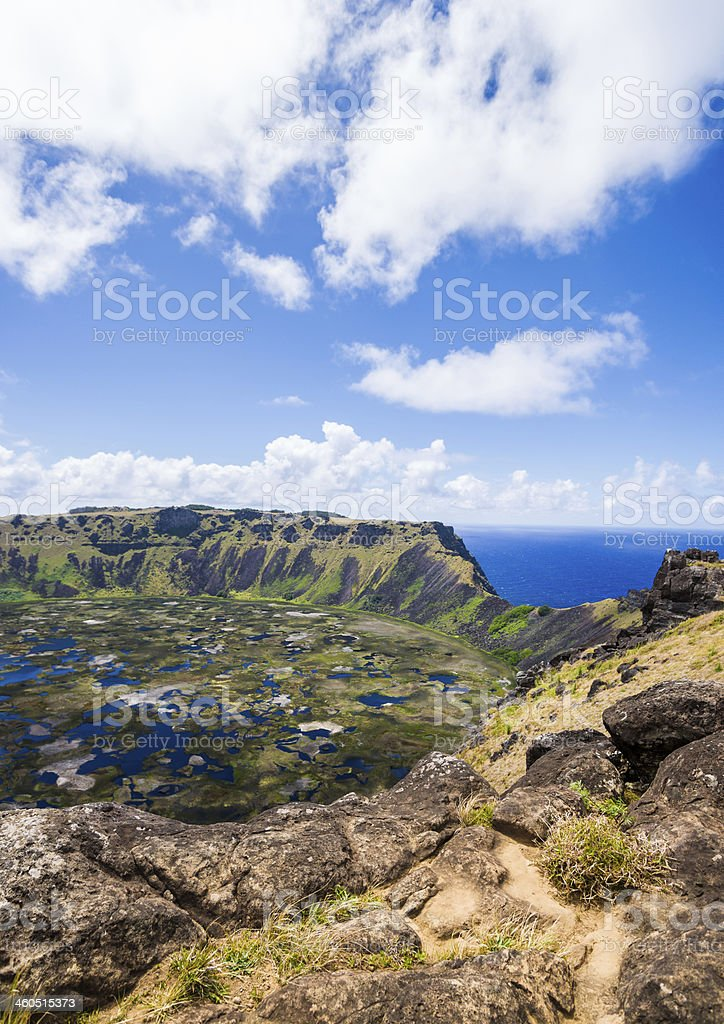 Crater of Rano Kau Volcano on Easter Island, Chile royalty-free stock photo