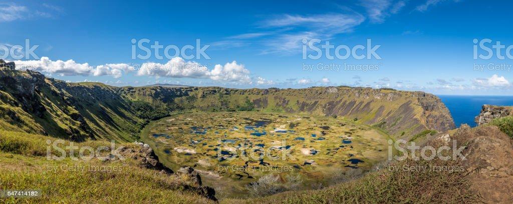 Crater of Vulcano Rano Kau in Easter Island stock photo