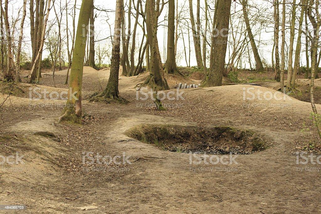 crater on the battlefield world war 1 flanders fields stock photo