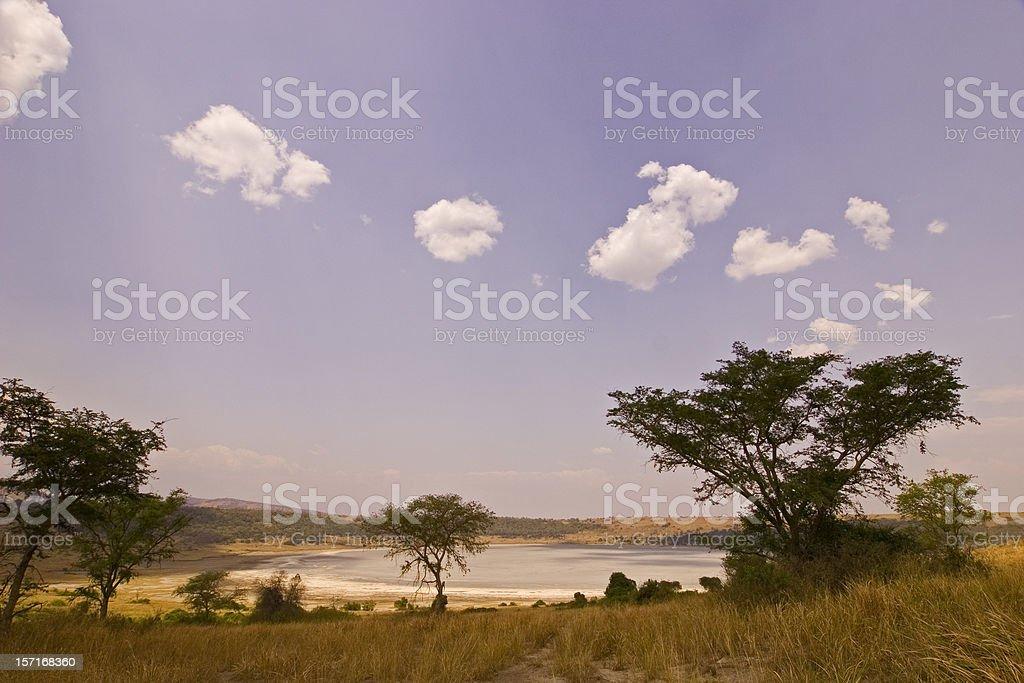 Crater salt lake, Uganda stock photo