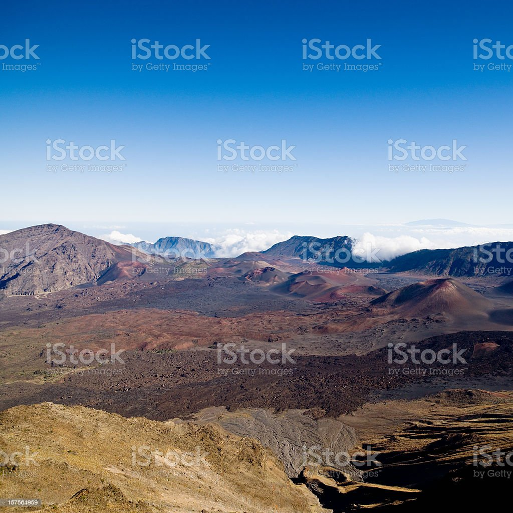 Crater Volcanic Lava Field Haleakala Maui Hawaii stock photo