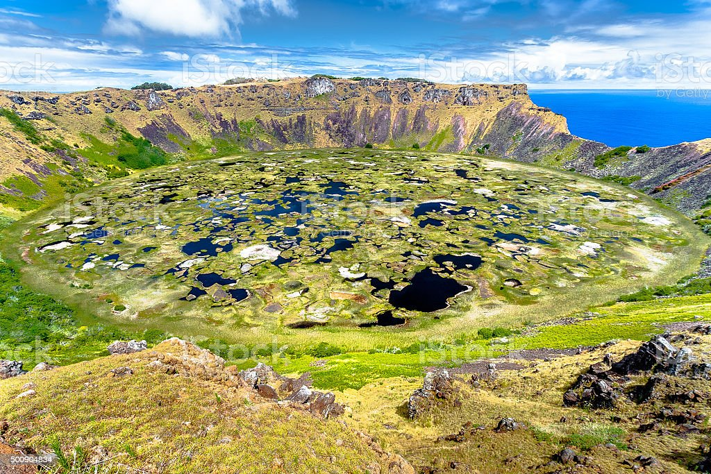 Crater Volcano in Easter Island stock photo