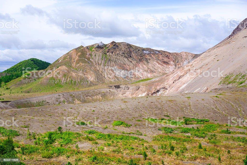 Craters of active volcano Mount Usu on Hokkaido, Japan stock photo