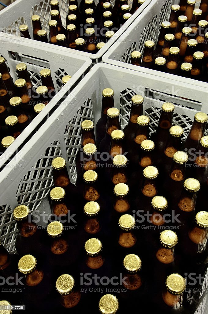 Crates of Freshly Bottled Beer in a Micro Brewery. royalty-free stock photo