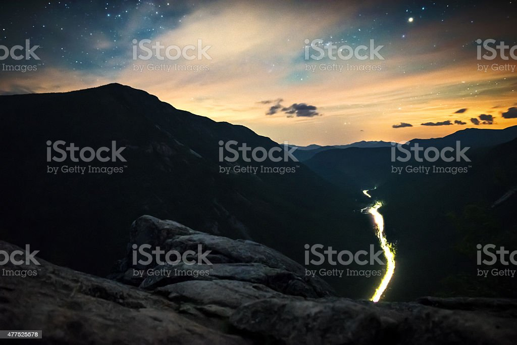 Crawford Notch in New Hampshire at night stock photo
