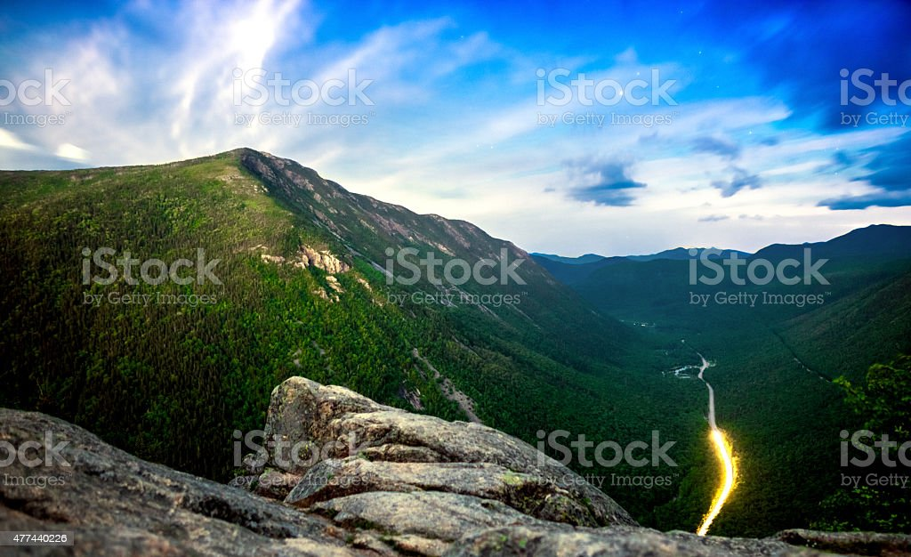 Crawford Notch in New Hampshire at twilight stock photo