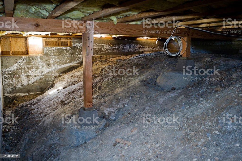 Crawl Space UNDER hOUSE stock photo