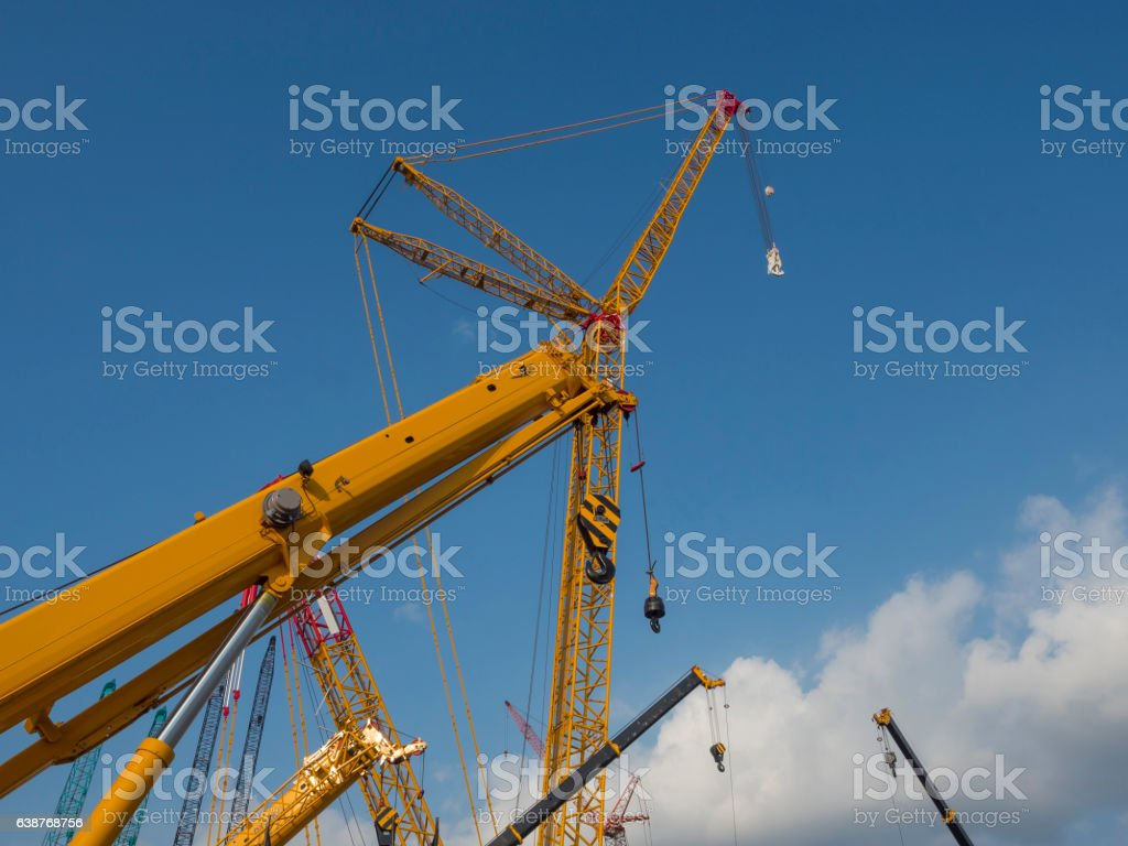 Crawler Crane and their tower and pulley stock photo