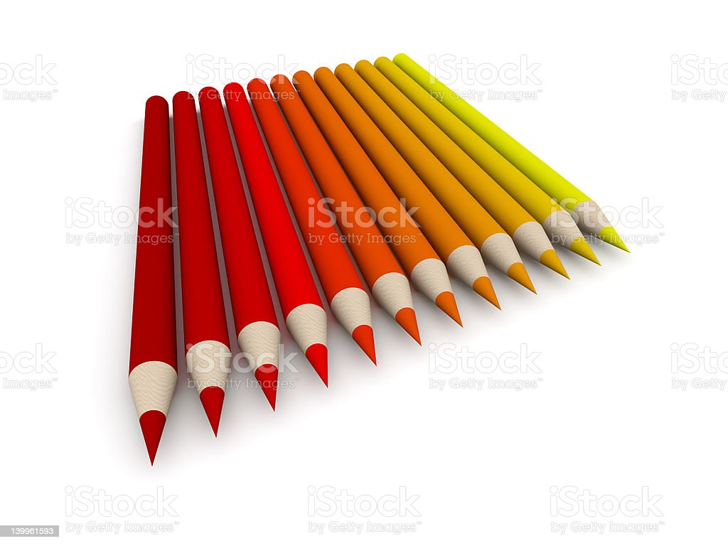 Crayon Color Spectrum - red royalty-free stock photo