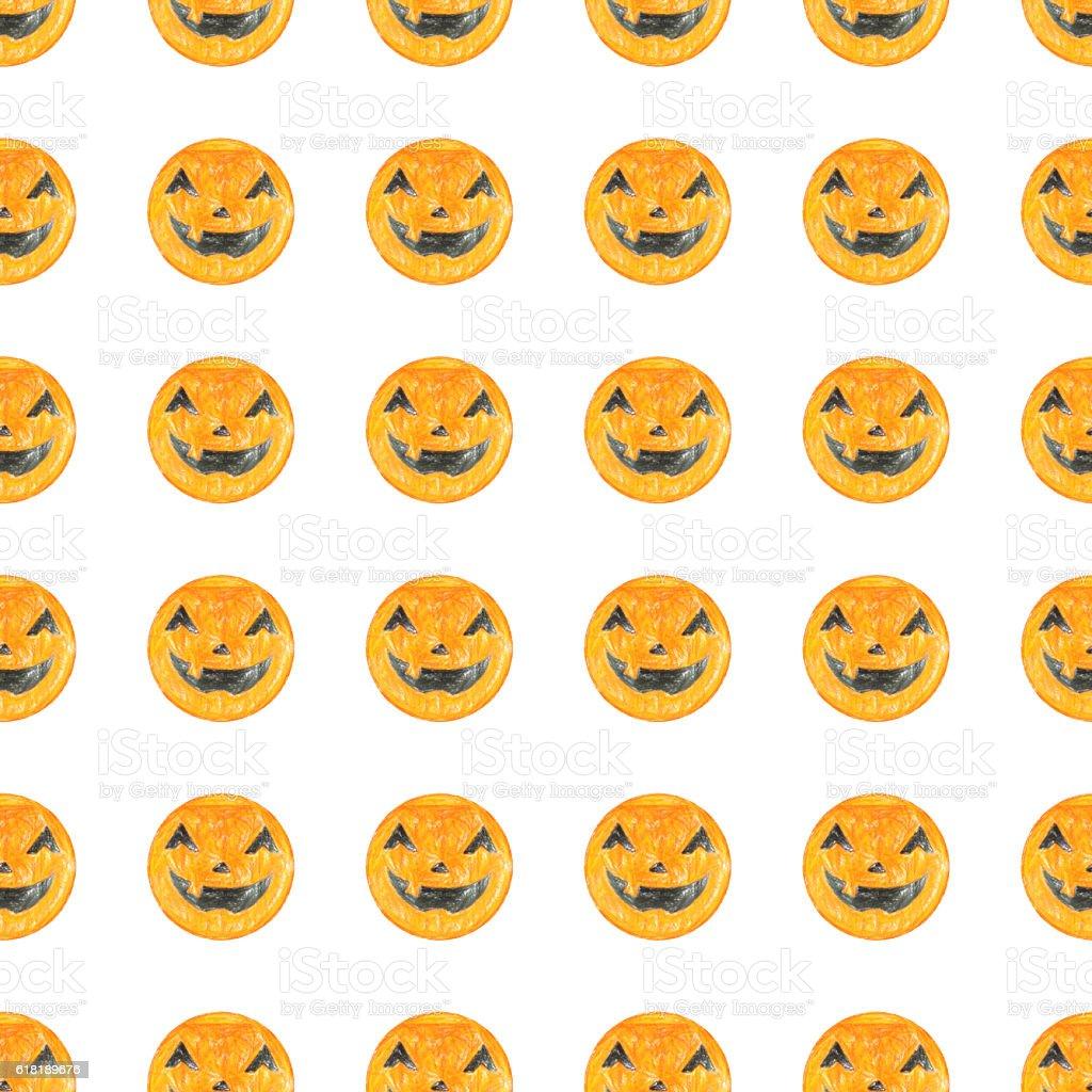 Crayon Jack-o-lantern faces seamless pattern stock photo