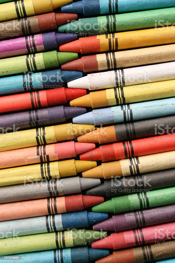 Crayons in rows royalty-free stock photo