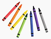 Crayons Isolated on White - Bright Colorful School Supplies