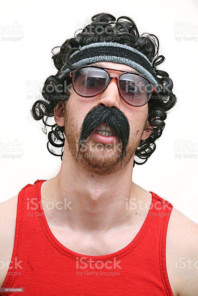 Crazy Biker Athlete 1980's Guy stock photo