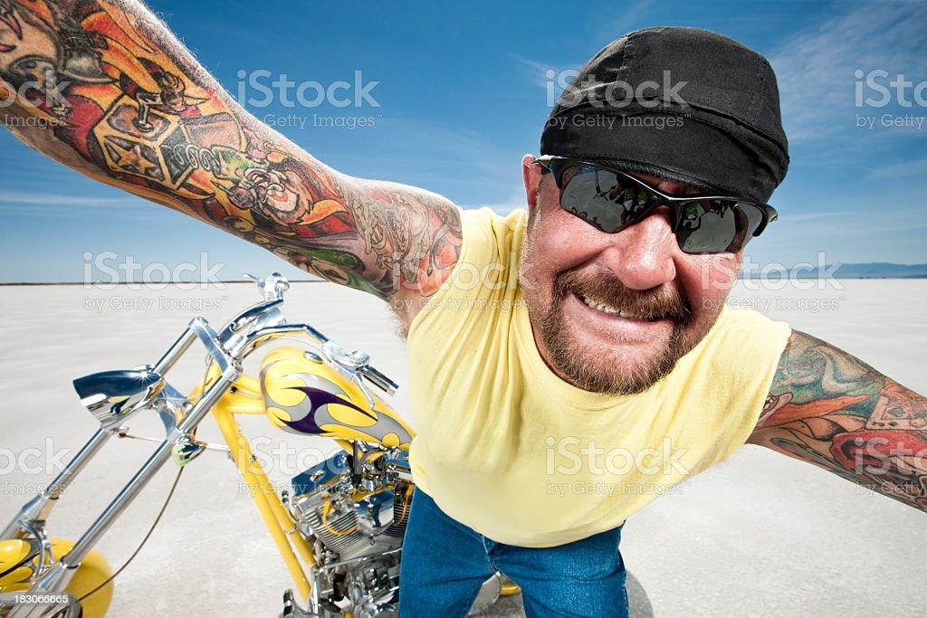 Crazy Biker royalty-free stock photo