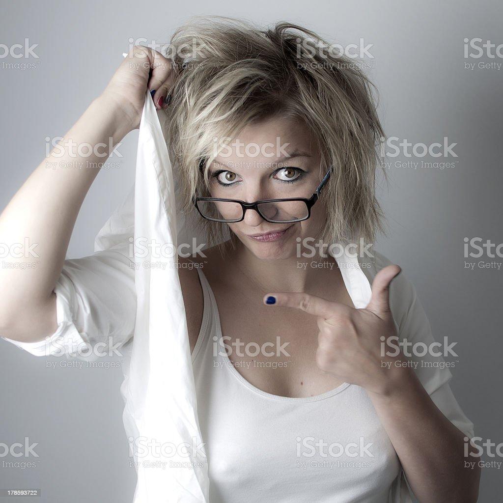 Crazy blond woman stock photo