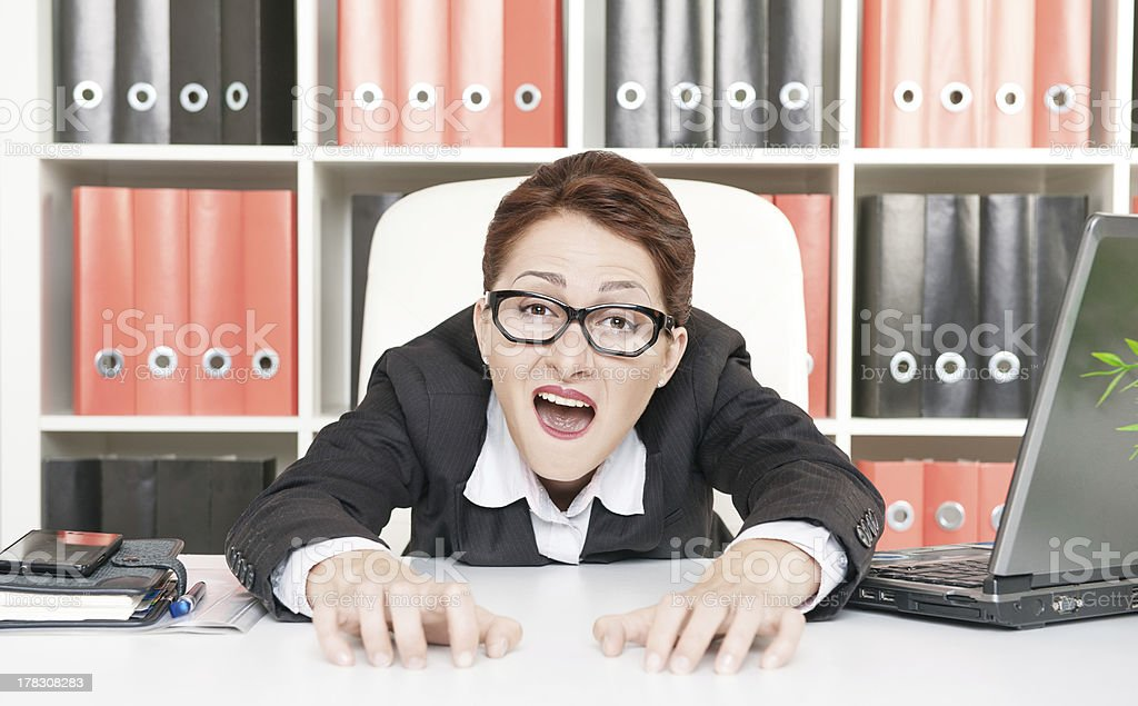 Crazy business woman royalty-free stock photo
