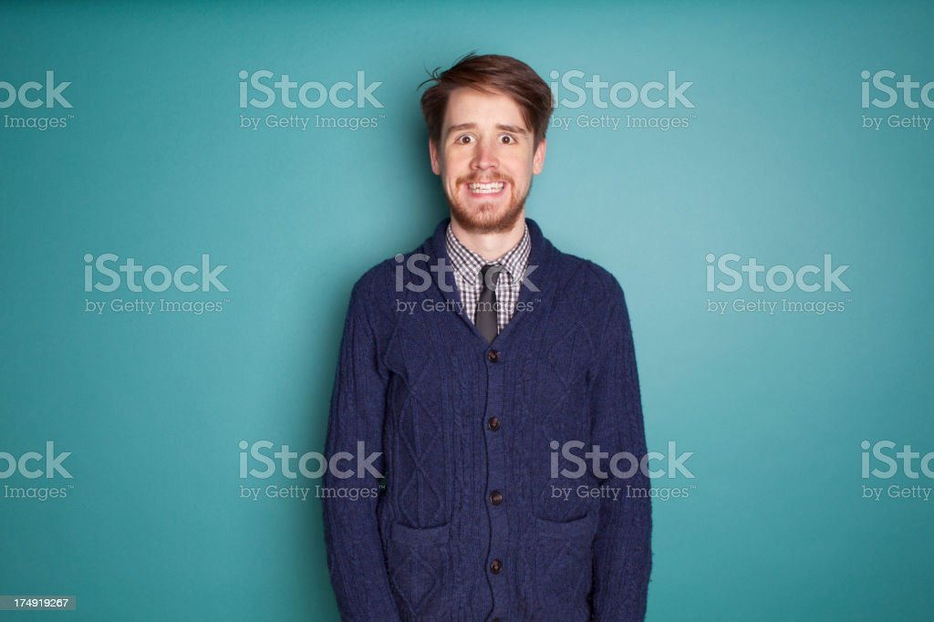 Crazy Businessman on Teal royalty-free stock photo