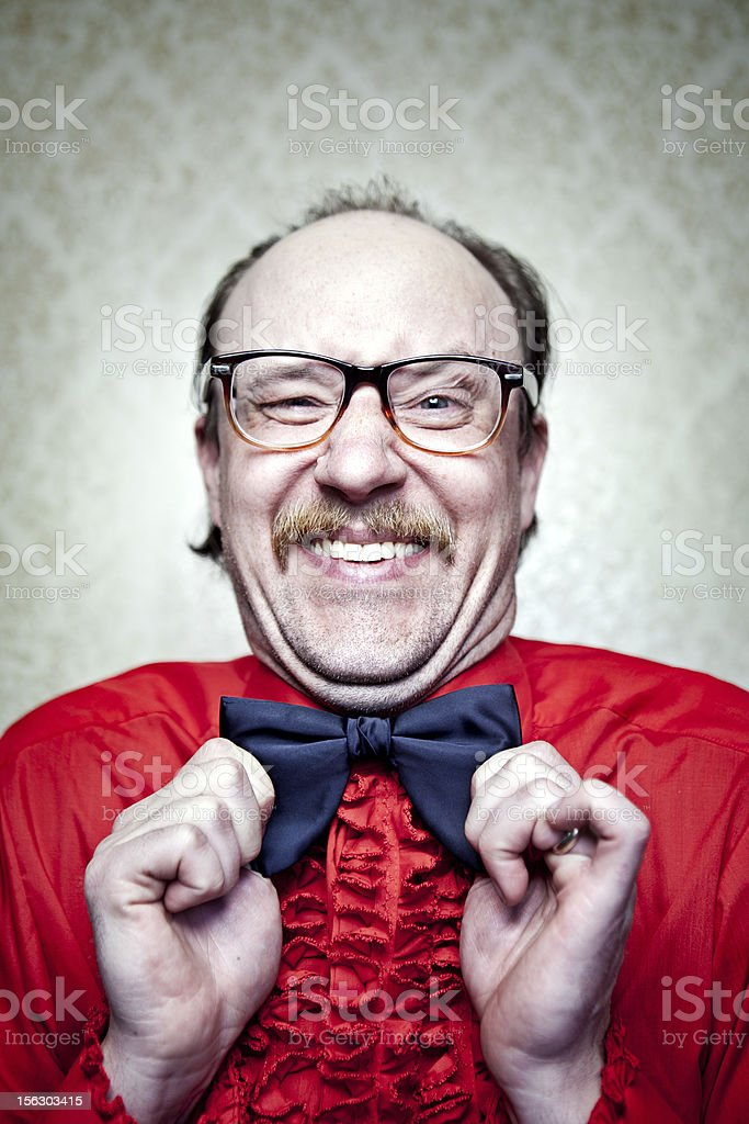 Crazy Butler Man in Red Frilly Shirt & Bow Tie royalty-free stock photo