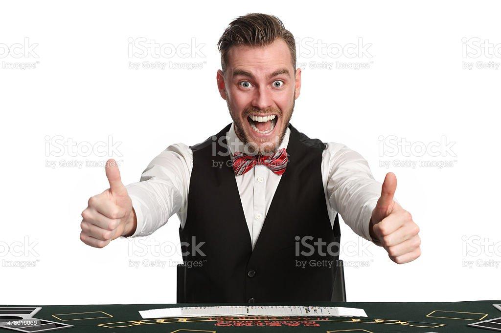 Crazy casino worker blackjackdealer stock photo