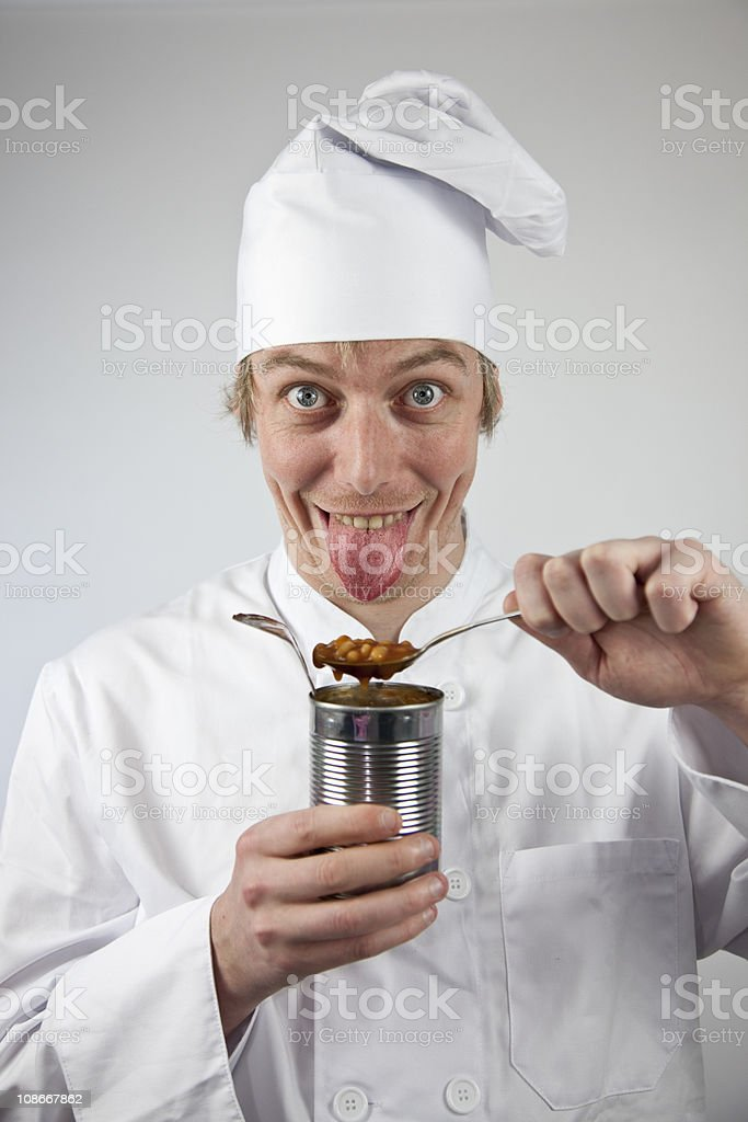 Crazy Chef with Tinned Food stock photo