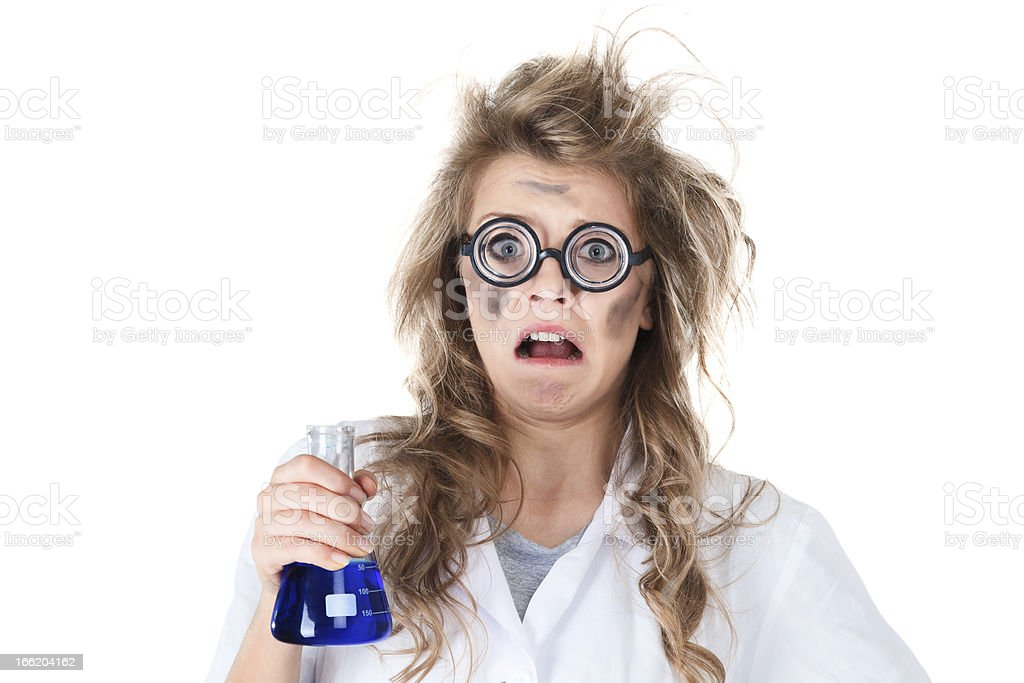 A crazy chemist depicting an accident royalty-free stock photo