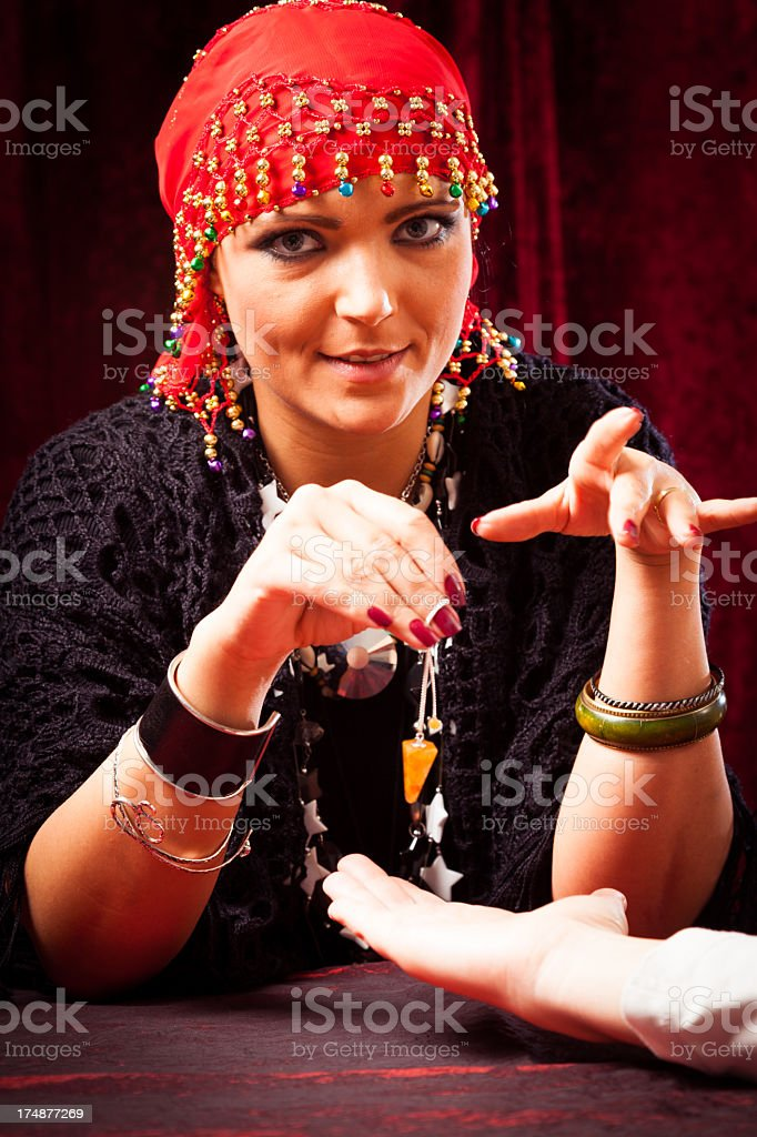 crazy chiromancer stock photo