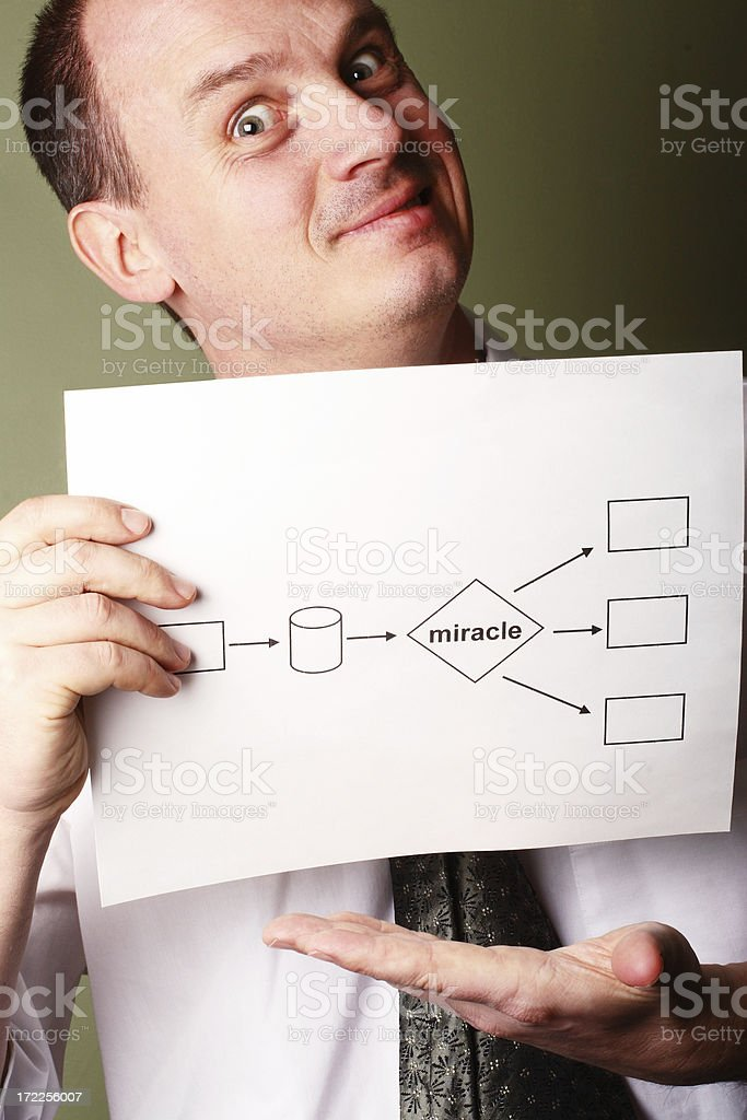 Crazy Consultant With Flowchart royalty-free stock photo