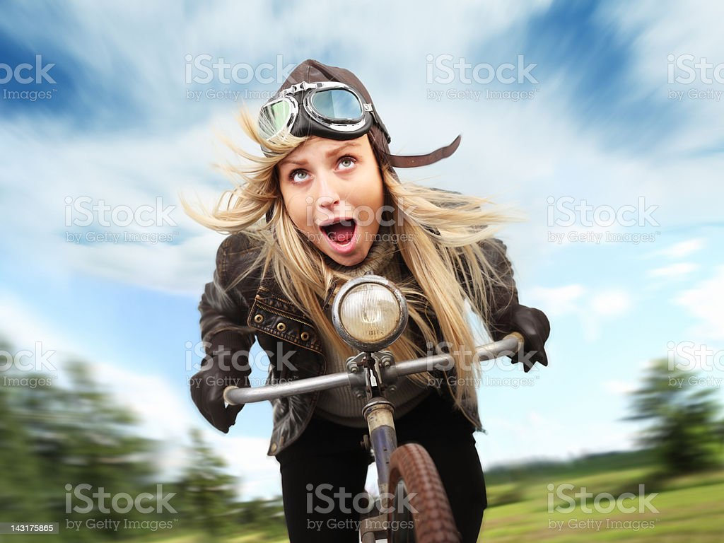 Crazy Cyclist stock photo
