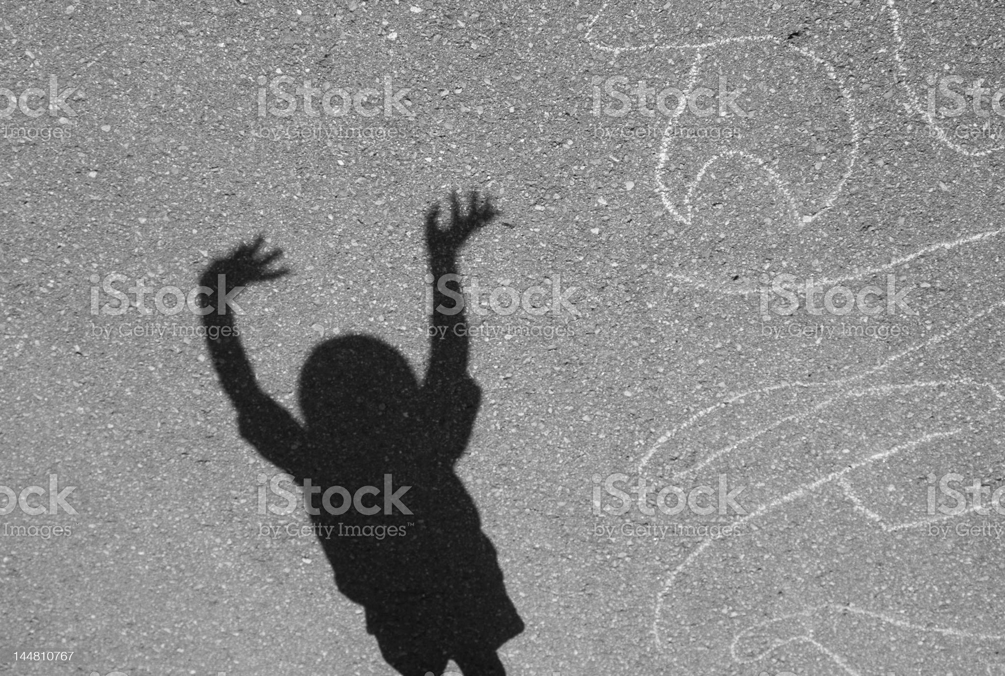 crazy dancing boy shadow royalty-free stock photo