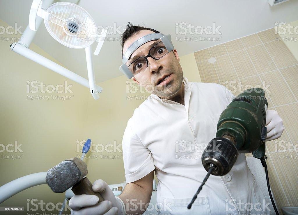 crazy dentist royalty-free stock photo