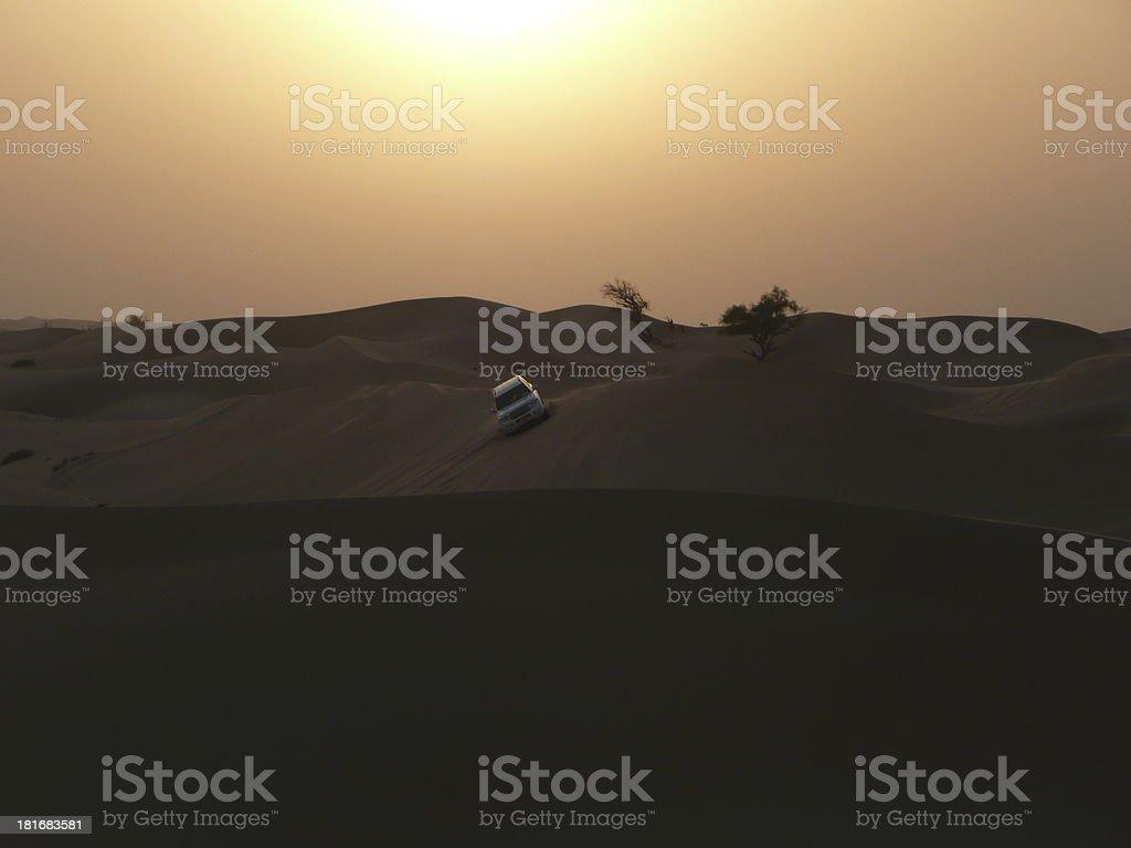 crazy desert safari Abu Dhabi with sunrise royalty-free stock photo