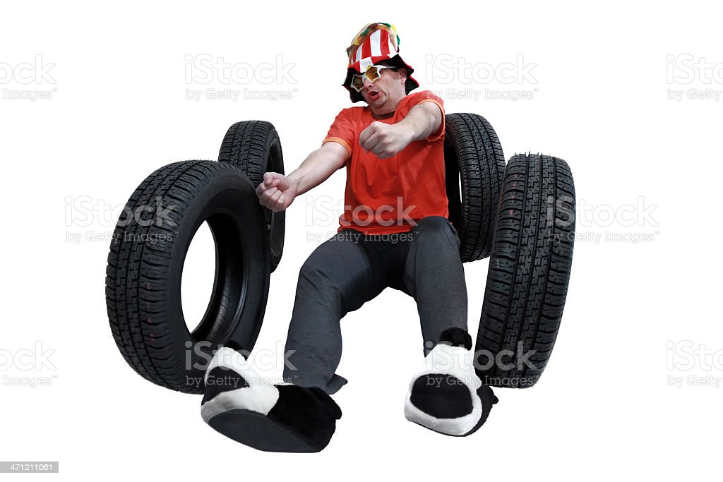 Crazy driver losing control royalty-free stock photo