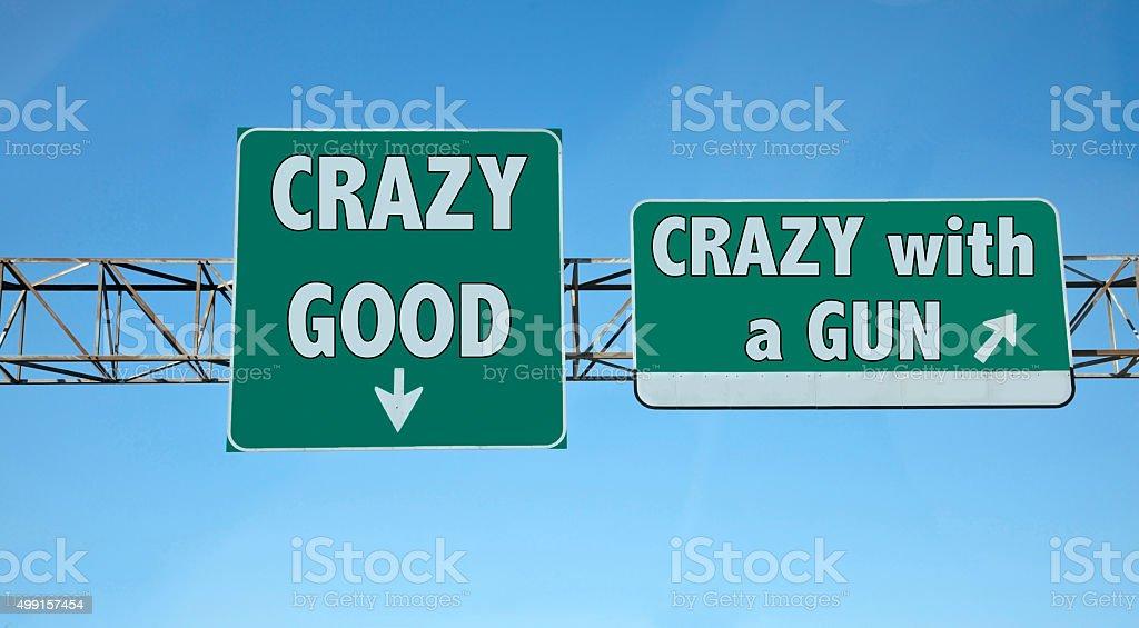 Crazy Exit Sign stock photo
