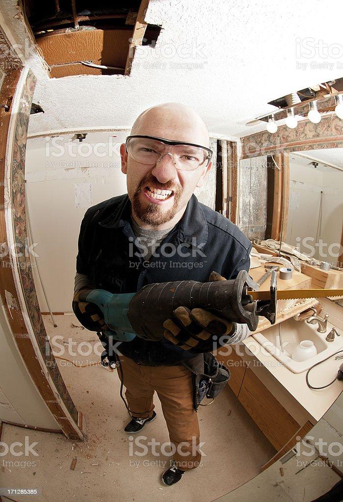 Crazy face remodel guy stock photo