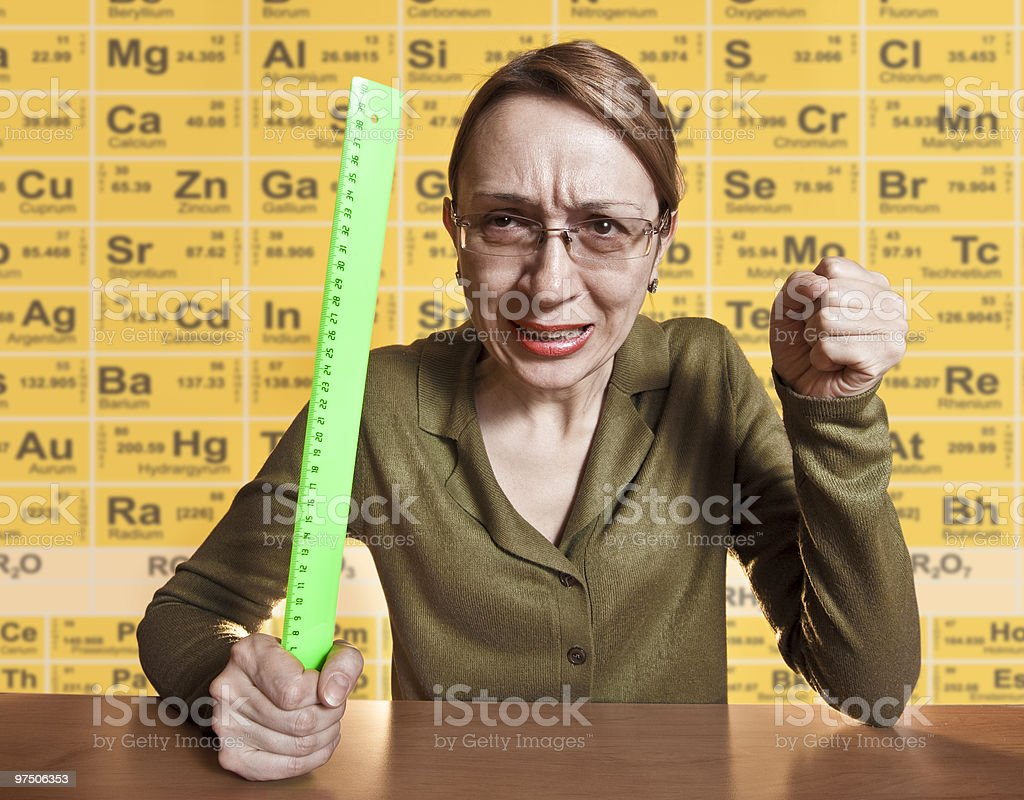 Crazy female teacher stock photo