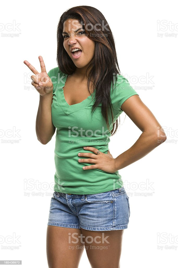 Crazy Girl Peace Sign Gesture royalty-free stock photo
