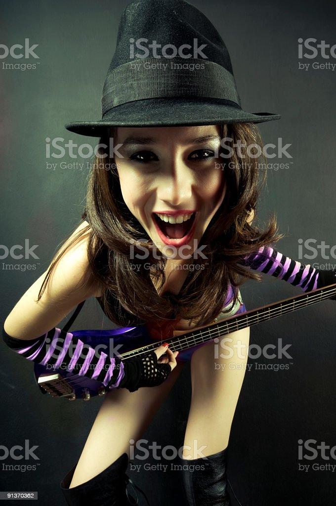 crazy guitarist stock photo