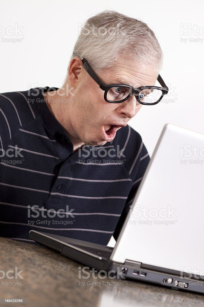 Crazy guy in total shock (series) stock photo