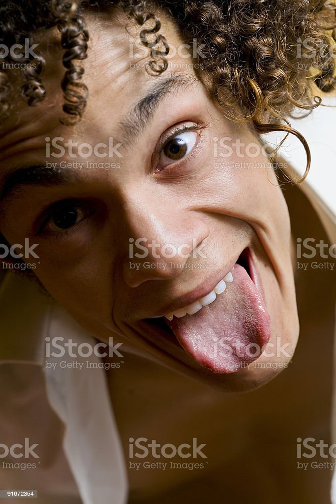 crazy guy smiling royalty-free stock photo