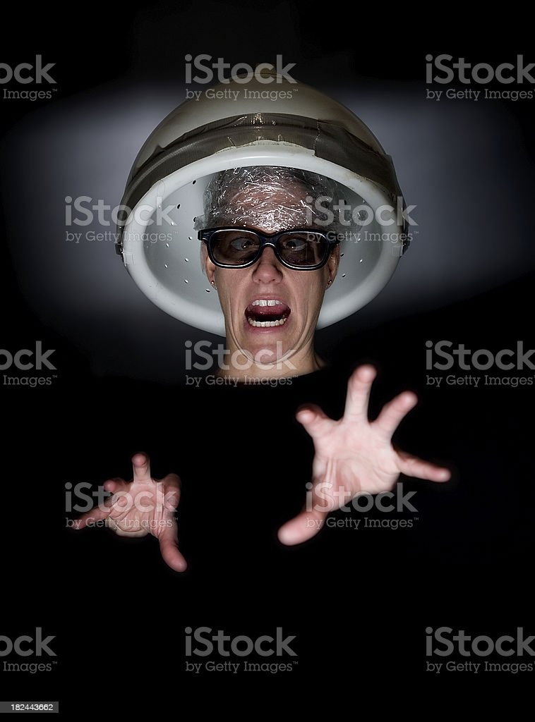 Crazy Hair Dryer Lady royalty-free stock photo