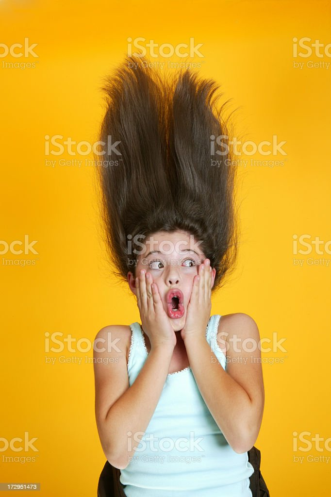 Crazy hair girl scream royalty-free stock photo