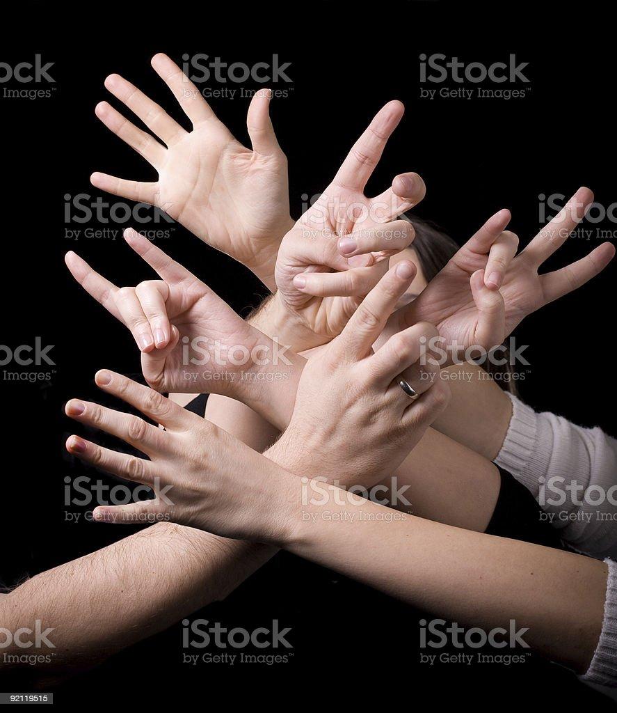 Crazy hands stock photo