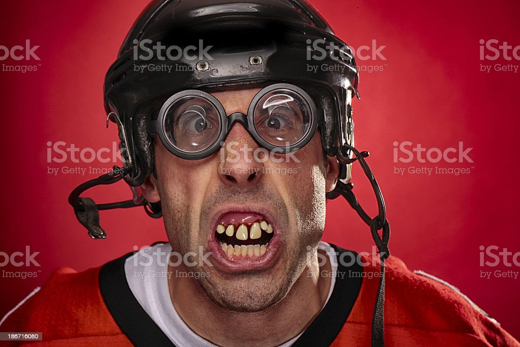 Crazy Hockey Player stock photo