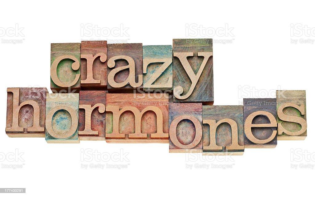 crazy hormones text  in wood type stock photo