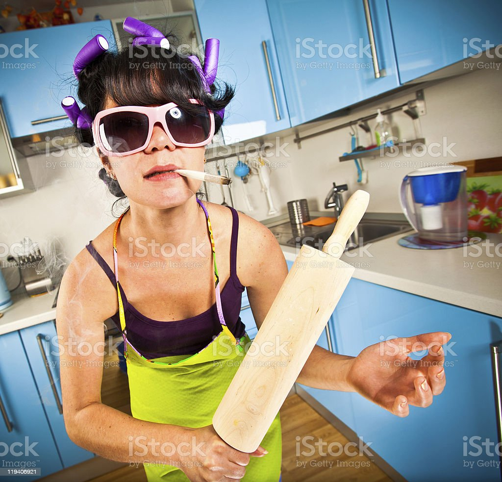 crazy housewife royalty-free stock photo