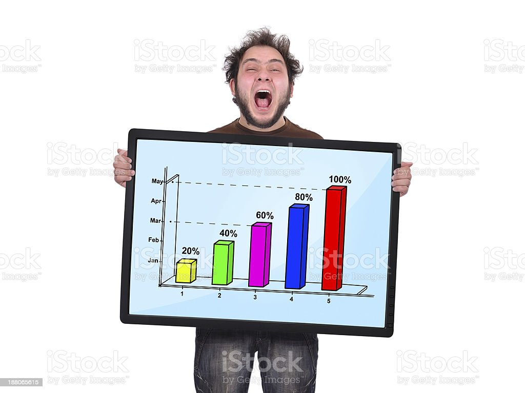 crazy man and graph royalty-free stock photo