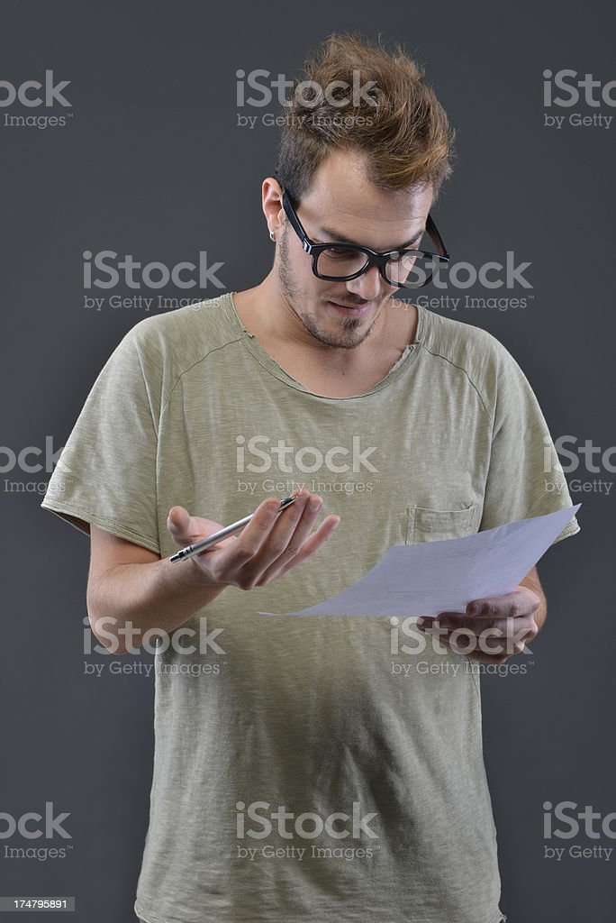 crazy man and paper royalty-free stock photo