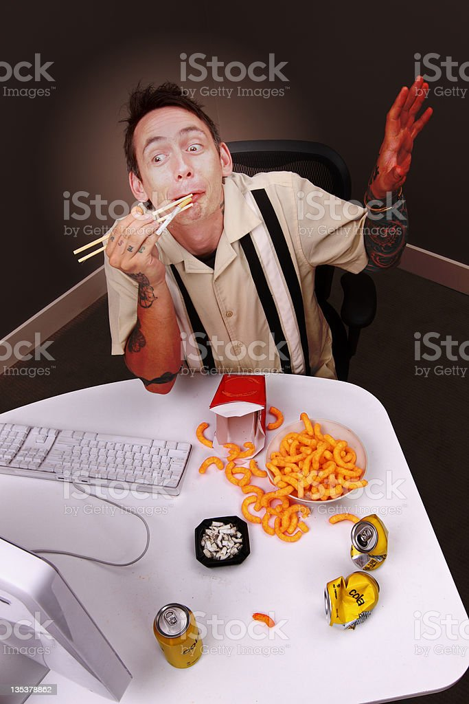 Crazy man in front of the computer royalty-free stock photo